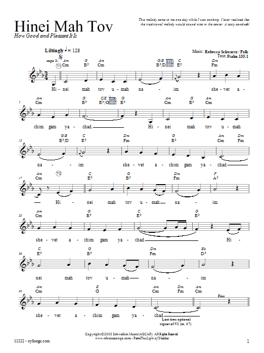 Hinei Mah Tov Sheet Music