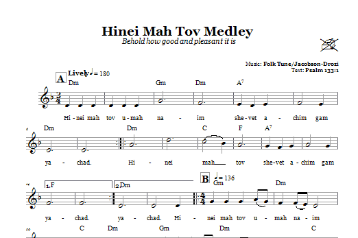 Hinei Mah Tov Medley (Behold How Good And Pleasant It Is) Sheet Music