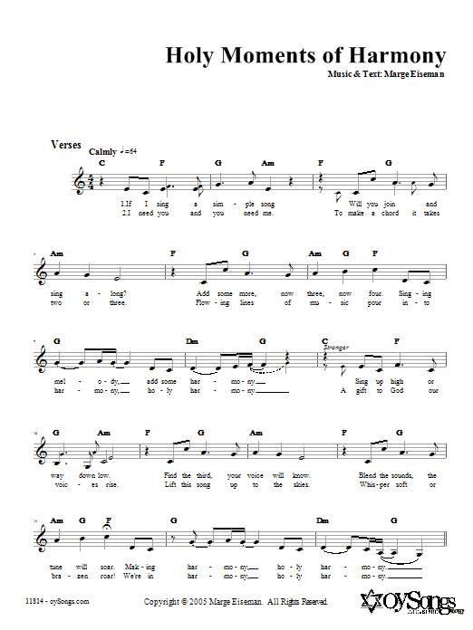 Holy Moments of Harmony (Lead Sheet / Fake Book)