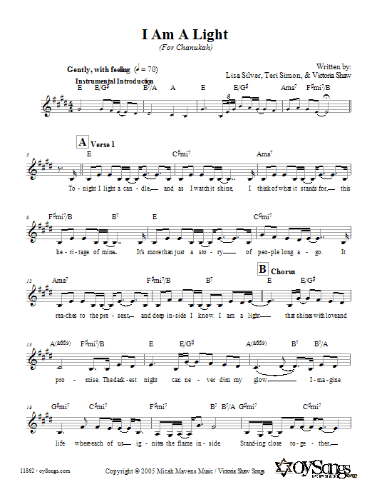 I Am A Light (Shoah Version) Sheet Music