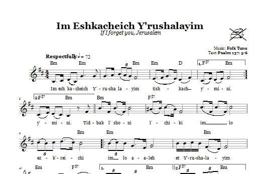 Im Eshkacheich Y'rushalayim (If I Forget You, Jerusalem) (Lead Sheet / Fake Book)
