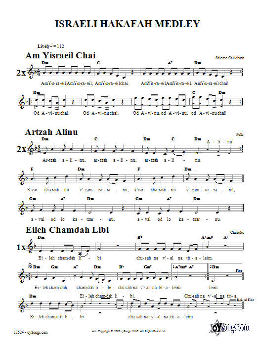 Israeli Hakafah Medley (Lead Sheet / Fake Book)