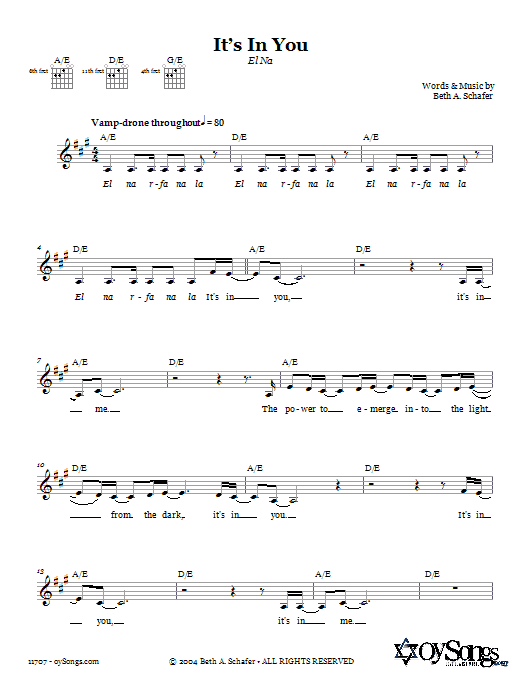 It's In You (El Na) Sheet Music