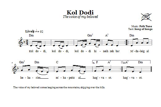 Kol Dodi (The Voice Of My Beloved) Sheet Music
