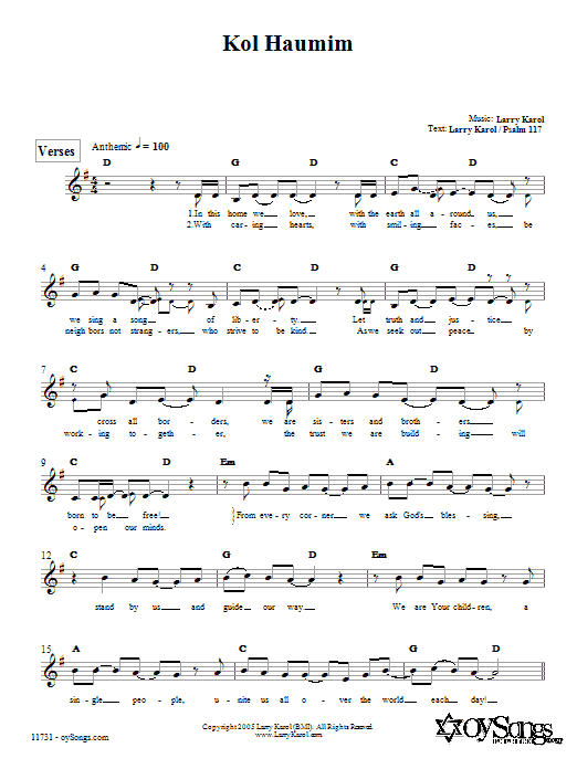 Kol Haumim Sheet Music
