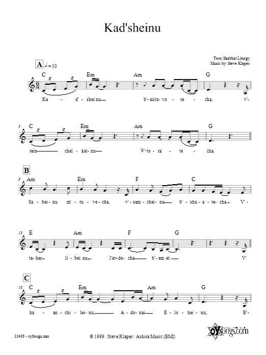 Kad'sheinu (Lead Sheet / Fake Book)