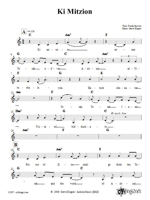 Ki Mitzion Sheet Music