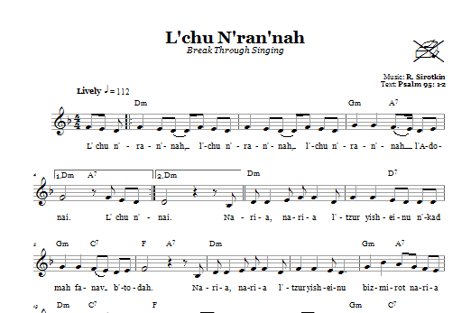 L'chu N'ran'nah (Break Through Singing) Sheet Music