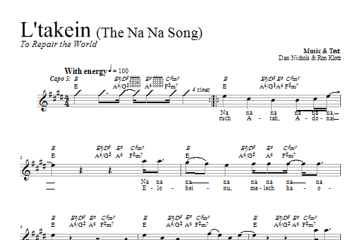 L'takein (The Na Na Song) (Lead Sheet / Fake Book)