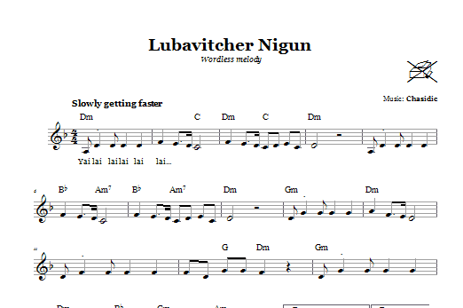 Lubavitcher Nigun (Wordless Melody) Sheet Music