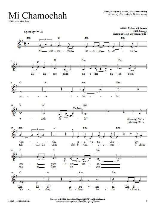 Mi Chamochah Sheet Music