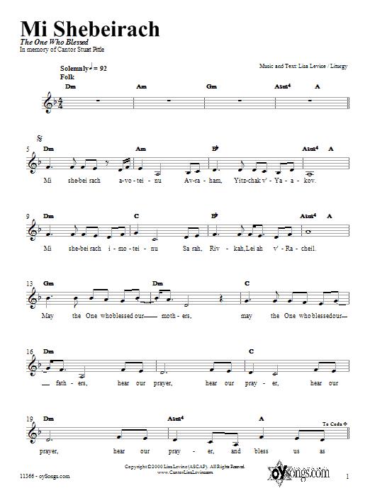 Mi Shebeirach Sheet Music