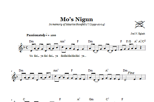 Mo's Nigun (Wordless Melody) Sheet Music