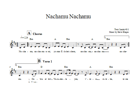 Nachamu Nachamu Sheet Music