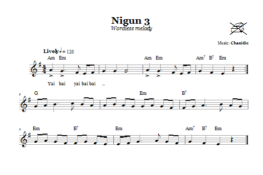 Nigun 3 (Wordless Melody) Sheet Music