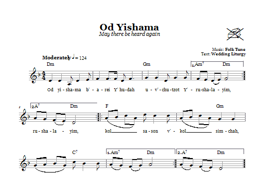 Od Yishama (May There Be Heard Again) Sheet Music