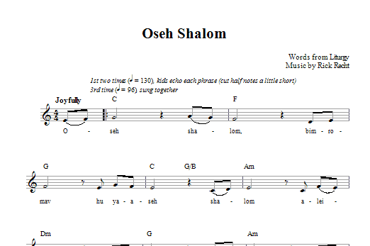 Oseh Shalom (Lead Sheet / Fake Book)
