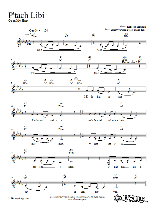 P'tach Libi Sheet Music