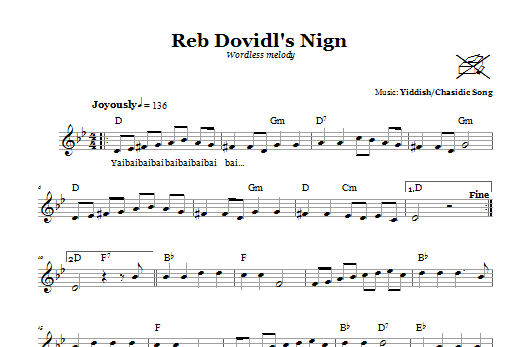Reb Dovidl's Nign (Wordless Melody) (Lead Sheet / Fake Book)
