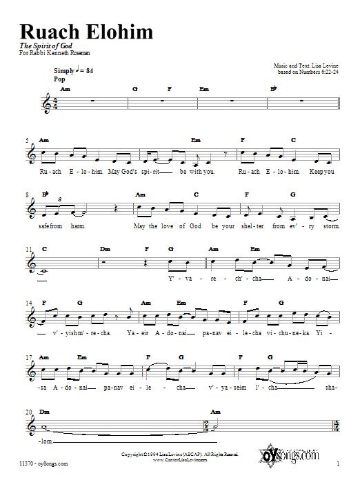 Ruach Elohim Sheet Music
