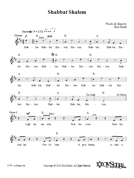 Shabbat Shalom (Lead Sheet / Fake Book)