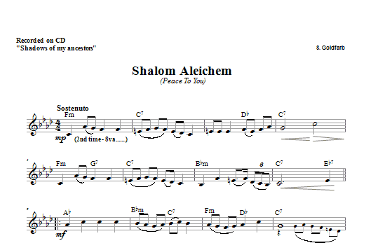 Shalom Aleichem Sheet Music