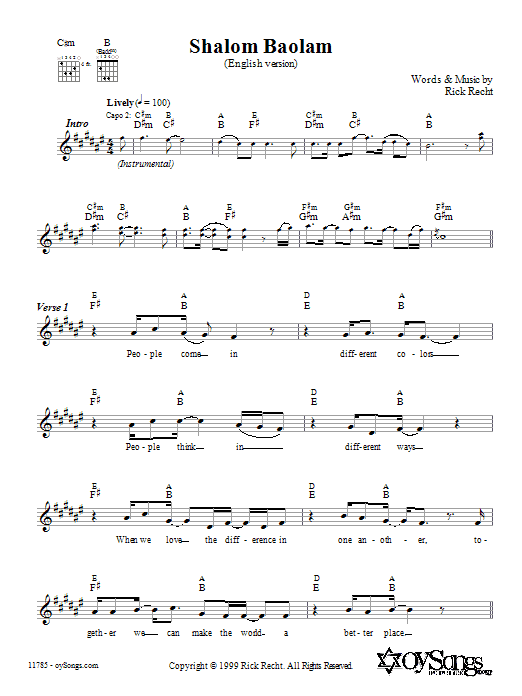 Shalom Baolam (English version) (Lead Sheet / Fake Book)