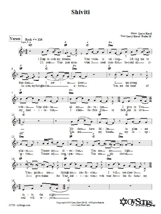 Shiviti Sheet Music