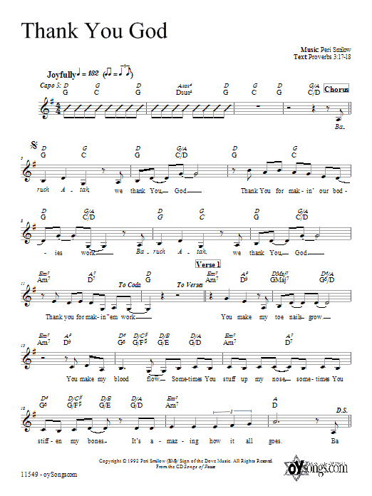 Thank You God Sheet Music