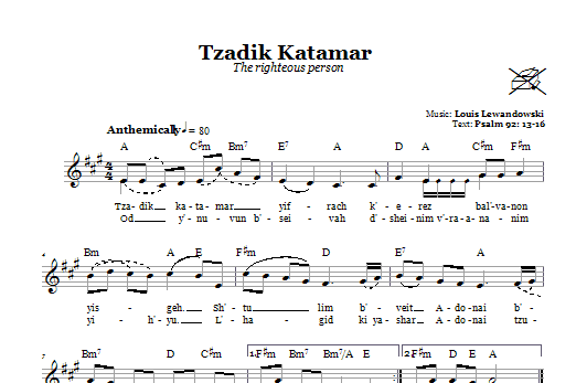 Tzadik Katamar (The Righteous Person) Sheet Music