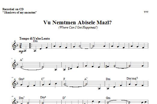 Vu Nemtmen Abisele Mazl? Sheet Music