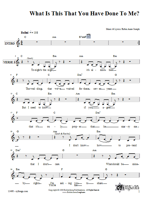 What Is This That You Have Done To Me? (Lead Sheet / Fake Book)