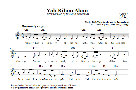 Yah Ribon Olam (Eternal God Of This And All Worlds) (Lead Sheet / Fake Book)