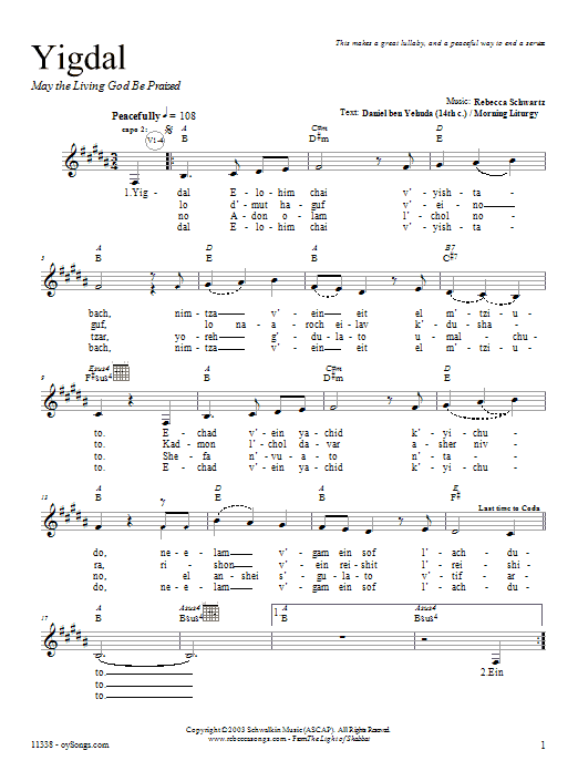 Yigdal Sheet Music