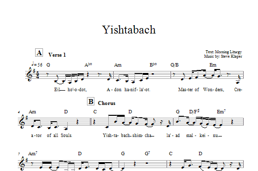 Yishtabach Sheet Music