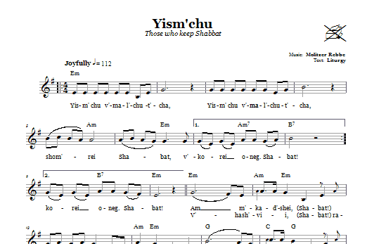 Yism'chu (Those Who Keep The Sabbath) (Lead Sheet / Fake Book)
