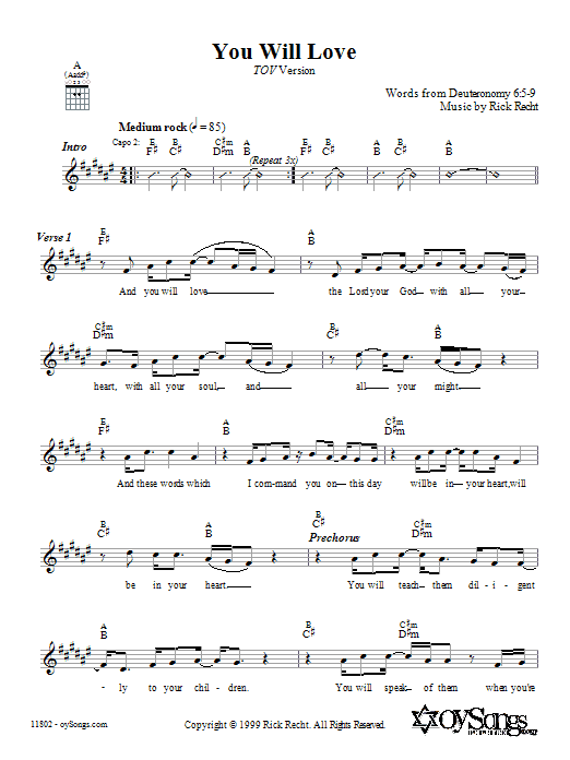 You Will Love (Tov Version) (Lead Sheet / Fake Book)