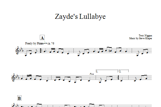 Zayde's Lullabye (Lead Sheet / Fake Book)