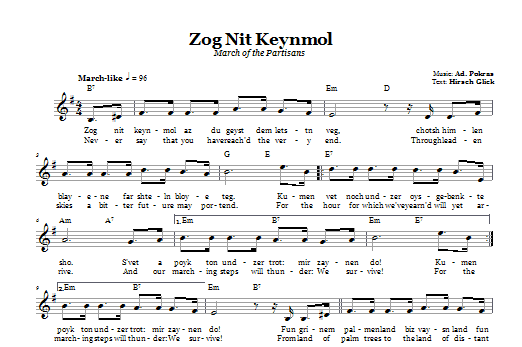 Zog Nit Keynmol (March Of The Partisans) Sheet Music