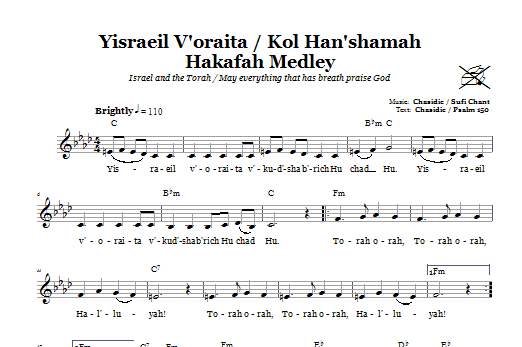 Yisraeil V'oraita/Kol Han'shamah Hakafah Medley (Medley For Torah March) Sheet Music