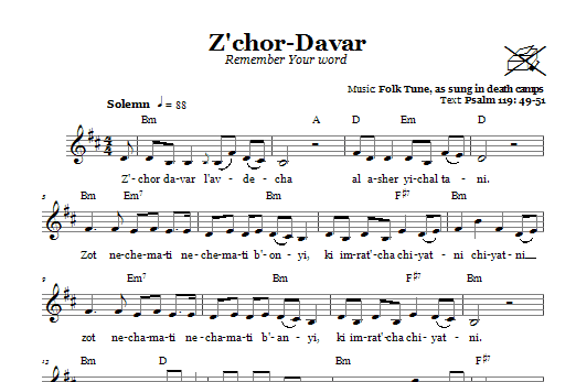 Z'chor-Davar (Remember Your Word) (Lead Sheet / Fake Book)