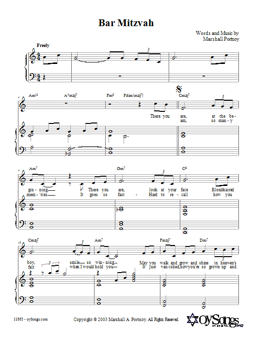 Bar Mitzvah (Piano, Vocal & Guitar (Right-Hand Melody))