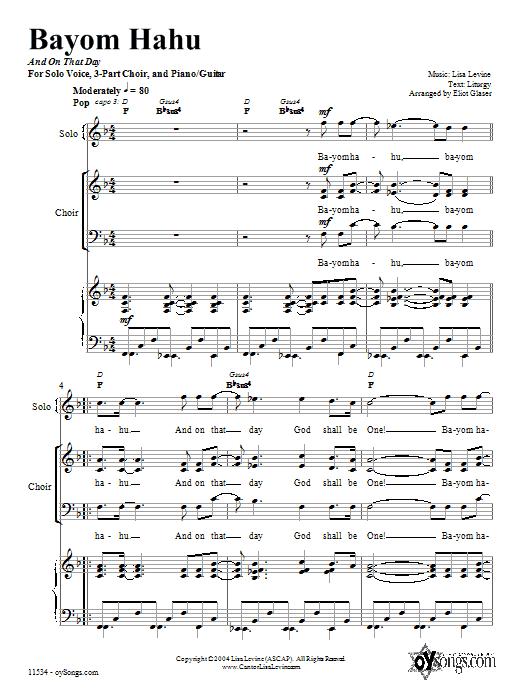 Partition piano Bayom Hahu de Lisa Levine - Piano Voix Guitare (Mélodie Main Droite)
