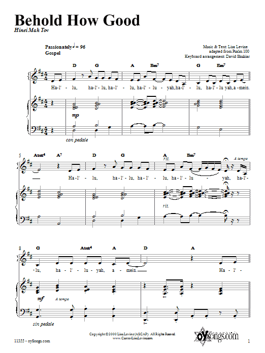 Behold How Good Sheet Music