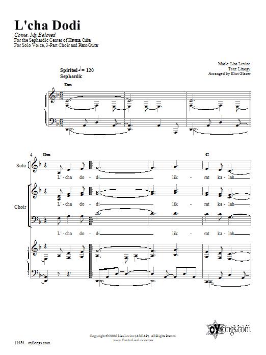 Partition piano L'cha Dodi de Lisa Levine - Piano Voix Guitare (Mélodie Main Droite)