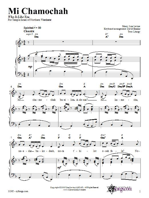Mi Chamochah (Piano, Vocal & Guitar (Right-Hand Melody))