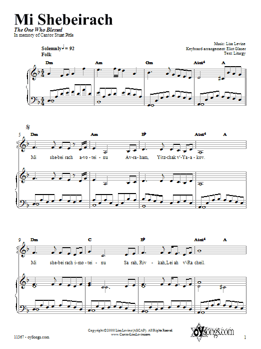 Mi Shebeirach (Piano, Vocal & Guitar (Right-Hand Melody))