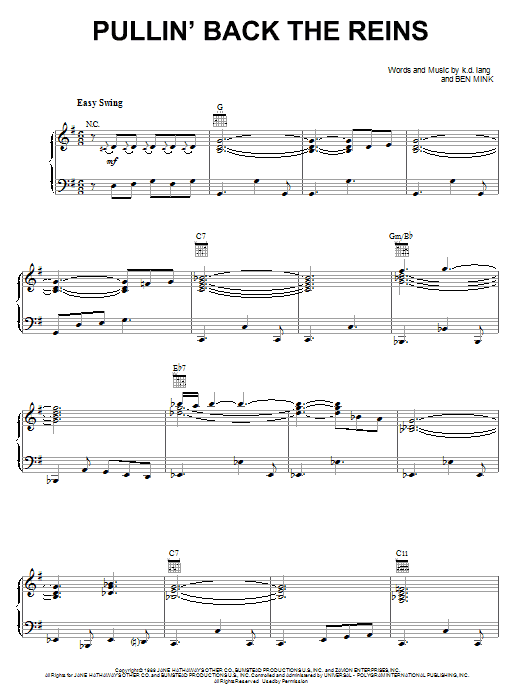 Pullin' Back The Reins (Piano, Vocal & Guitar (Right-Hand Melody))