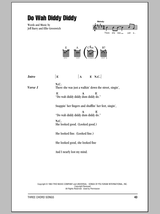 Do Wah Diddy Diddy Sheet Music