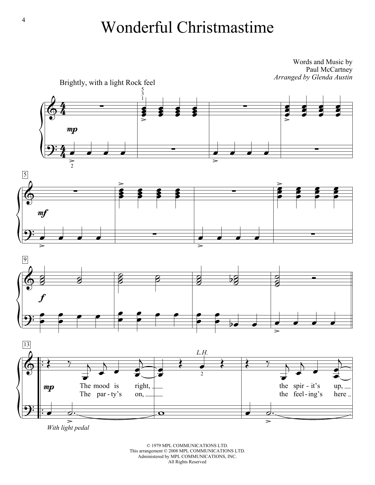Wonderful Christmastime (Educational Piano)